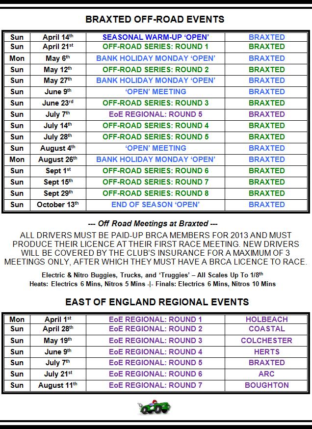 2013 Race Programme